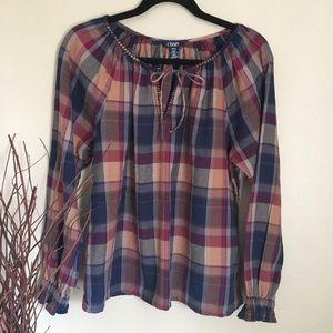 Chaps Plaid Peasant Shirt Size Medium